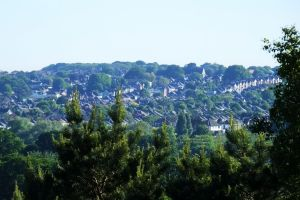 Southbourne viewed from the west side of St. Catherine's Hill, Christchurch, Dorset, England, in May 2020