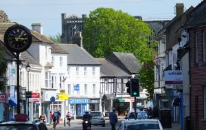 Christchurch high street, Dorset, England, in May 2020