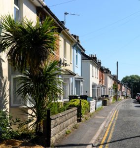 Beaconsfield Road off Bargates, Christchurch, Dorset, England, in June 2020