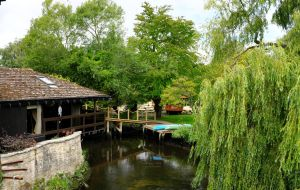 River garden in Purewell, Christchurch, Dorset, England, in June 2020