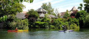 Canoes by Bridge Street, Christchurch, Dorset, in June 2020