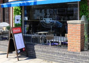 Cafe in Bargates, Christchurch, Dorset, England, in June 2020