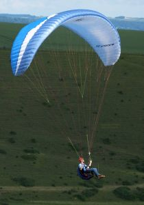Paraglider flying at Mere, Wiltshire, UK, in June 2020