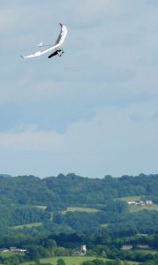 Hang glider flying at Mere, Wiltshire, UK, in June 2020