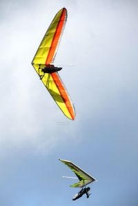 Hang gliders flying at Mere, Wiltshire, UK, in June 2020