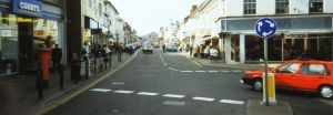 High Street looking north from Church Street, Christchurch, Dorset, England,  in 1996