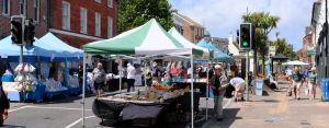 Monday market in the High Street, Christchurch, Dorset, England, in June 2020