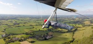 Hang glider in flight in north Dorset, England, July 2020