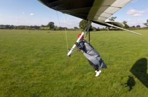 Hang glider about to land in north Dorset, England, July 2020