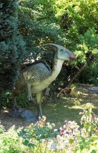 Dinosaur in the Red House Museum garden, Christchurch Dorset, England, in July 2020