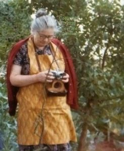 Kathleen Cunion with her late husband's Leitz Leica camera in late August 1975