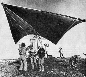 Dual hang glider at Rhossili, south Wales, in early 1975