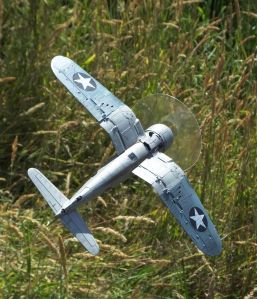 Tamiya 1/48th scale 'birdcage' Chance Vought F4U Corsair view from aft below