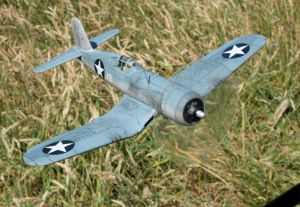 Tamiya 1/48th scale 'birdcage' Chance Vought F4U Corsair view from the side in front