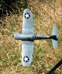 Tamiya 1/48th scale 'birdcage' Chance Vought F4U Corsair view from above