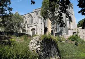 Priory from Convent Walk, Christchurch Dorset, England, in July 2020