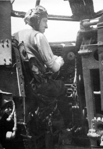 Patrick Murphy, a pilot in the Air Transport Auxiliary of World War 2, at the controls of a Short Stirling long range bomber
