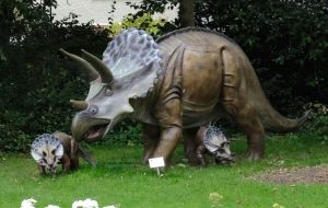 Dinosaurs in the Red House Museum garden, Christchurch Dorset, England,