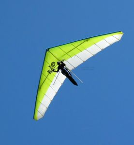 Hang glider flying above at Bell Hill, UK, in 2020