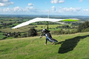 Hang glider launch run at Bell Hill, UK, in 2020