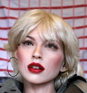 Cynthia Sinthetics doll made up to resemble Debbie Harry of punk band Blondie
