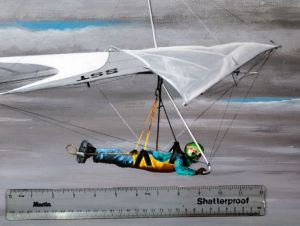 Detail of painting by Everard Cunion of Brian Wood flying a Wills Wing SST90 hang glider