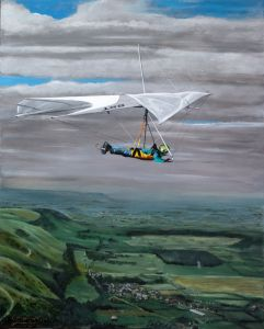 Painting by Everard Cunion of Brian Wood flying a Wills Wing SST90 hang glider