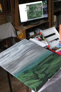 Backdrop painting in progress