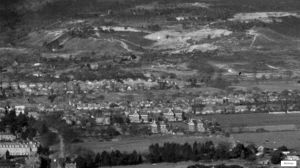 Areial view looking north to St. Catherine's Hill in 1951