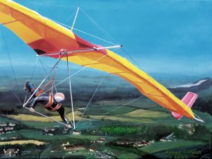 Painting of Miles Wings Gryphon mark 1 hang glider of 1976