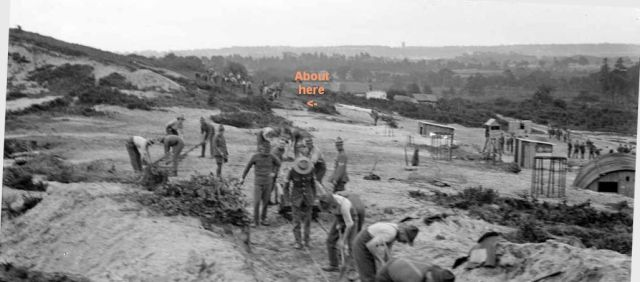 Cropped, leveled, and annotated photo of New Zealand army engineers constructing a narrow-gauge railway on St. Catherine's Hill, Christchurch, Hampshire, in 1918 by Thomas Frederick Scales