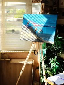 Lightweight painting easel, October 2020