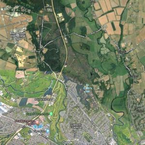 Satellite view of St. Catherine's Hill, Christchurch, Dorset, UK