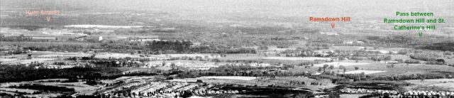 Aerial view of Ramsdown Hill, Christchurch, Hampshire, from the west in 1953