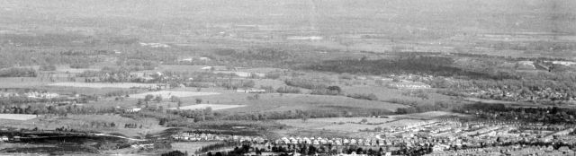 Aerial view of Ramsdown Hill and St. Catherine's Hill, Christchurch, Hampshire, from the west in 1953