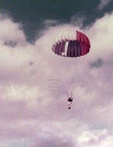 Color photo of parachuting at Thruxton, Hampshire