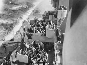 USS Misouri about to be struck by a Kamikaze Mitsubishi Zero