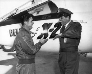 Test pilot Pete Everest provides technical advice to actor William Holden