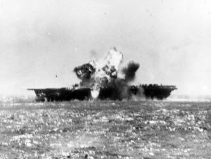USS Essex hit by a Kamikaze