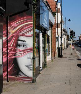 Unisex hair design studio side mural