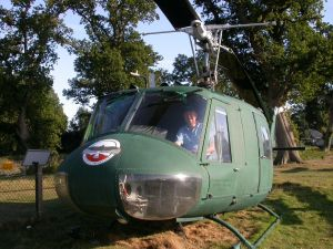 Roly the sailmaker in a Huey at Bournemouth Airport