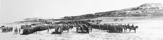 Cavalry parade on the approach to Hengistbury Head in about 1916