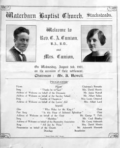 Announcement of my father and his first wife appearing at Waterbarn Baptist Church, 1927