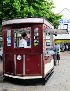 Tram car styled sausage stand