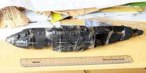 Fuselage halves taped together