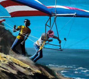 Cropped photo of painting by Everard Cunion of Mike Markowski launching the Eagle III hang glider