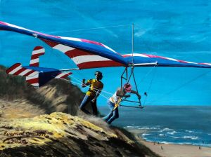 Painting by Everard Cunion of Mike Markowski launching the Eagle III hang glider